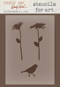 Wendy Vecchi STENCILS For Art WILDFLOWERS & A BIRD Studio 490*