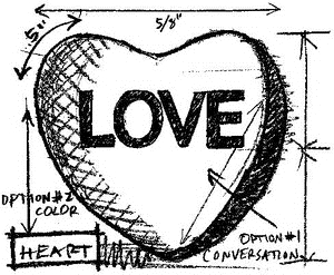 Tim Holtz Rubber Stamp HEART SKETCH Stampers Anonymous M4-2061