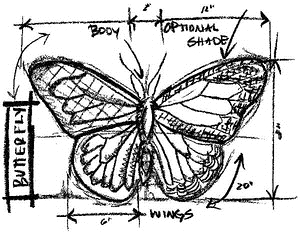 Tim Holtz Rubber Stamp BUTTERFLY SKETCH Stampers Anonymous U1-2067 zoom image