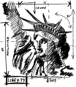 Tim Holtz Rubber Stamp LIBERTY SKETCH Stampers Anonymous V1-2072 Preview Image