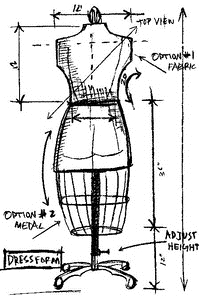 Tim Holtz Rubber Stamp DRESS FORM SKETCH Stampers Anonymous U1-2075 Preview Image