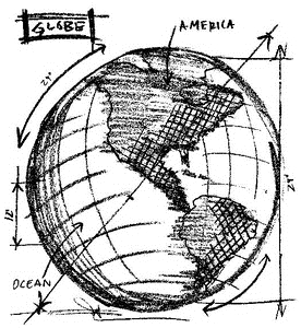 Tim Holtz Rubber Stamp GLOBE SKETCH Stampers Anonymous U2-2080
