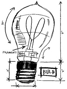 Tim Holtz Rubber Stamp LIGHTBULB SKETCH Stampers Anonymous P1-2082 Preview Image