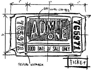 Tim Holtz Rubber Stamp TICKET SKETCH Stampers Anonymous M4-2085 Preview Image