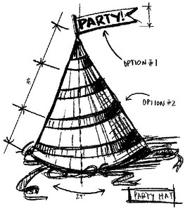 Tim Holtz Rubber Stamp PARTY HAT SKETCH Stampers Anonymous U2-2096 Preview Image