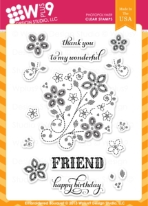 Wplus9 EMBROIDERED BOUQUET Clear Stamps CL-WP9EB