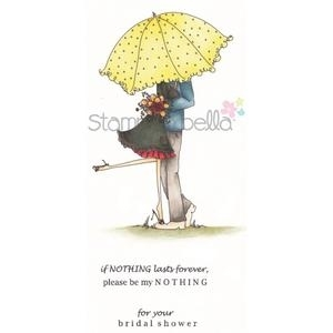 Stamping Bella Cling Stamp UPTOWN COUPLE EMILY AND RYAN UNDER THE UMBRELLA Rubber UM EB239 Preview Image