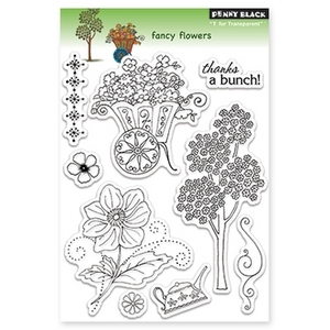 Penny Black Clear Stamps FANCY FLOWERS 30-123