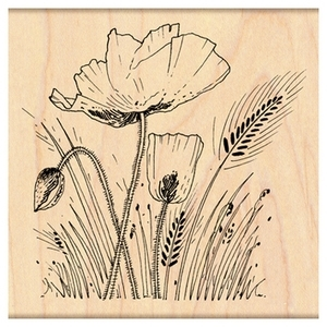 Penny Black Rubber Stamp FIELD OF POPPIES 4308K*