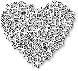 Impression Obsession Steel Dies FLORAL LACE HEART DIE054-S Preview Image