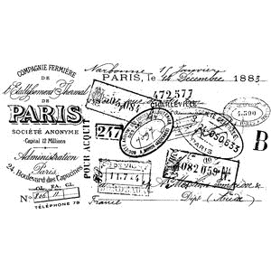 Tim Holtz Rubber Stamp PARIS CERTIFICATE Stampers Anonymous V2-2110 zoom image
