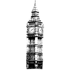 Tim Holtz Rubber Stamp BIG BEN Stampers Anonymous P3-2105