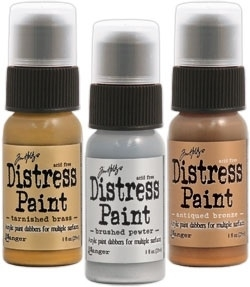 Tim Holtz Distress Paint METALLIC SHADES SET OF 3 Ranger TIMMSS3 zoom image