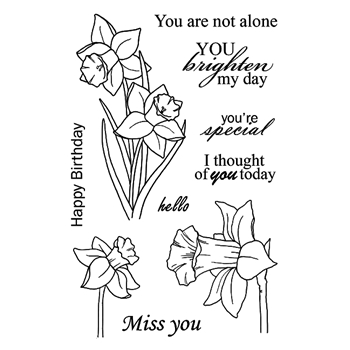 Jane's Doodles DAFFODILS Clear Stamp Set 743054