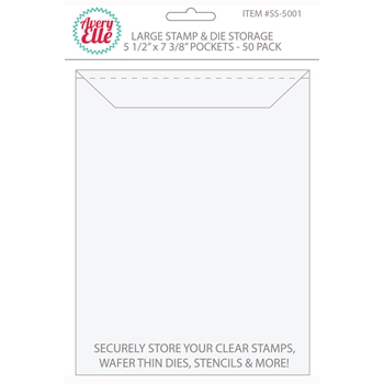 Avery Elle LARGE Stamp & Die Storage Pockets - 5-1/2 x 7-1/4 inches Set of 50 SS-5001