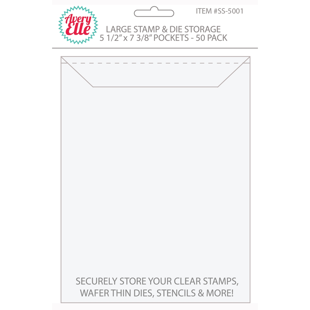 Avery Elle LARGE Stamp & Die Storage Pockets - 5-1/2 x 7-1/4 inches Set of 50 SS-5001 zoom image