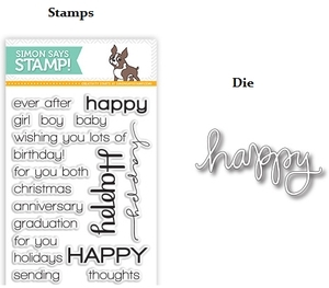 Simon Says DIE & STAMPS SET HAPPY SENTIMENTS setHS19