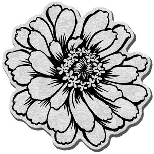 Stampendous Cling Stamp ZINNIA Rubber UM CRQ170 Preview Image