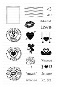 Clearly Besotted POST IT: LOVE Clear Stamp Set