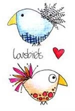 Paper Artsy JOFY MINI 20 Lovebirds Rubber Cling Stamp JM20 Preview Image