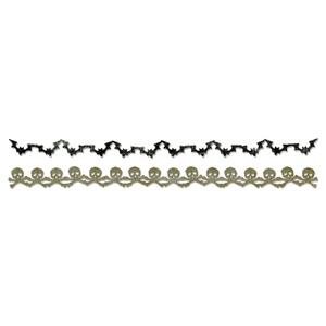 Tim Holtz Sizzix Die BATS & CROSSBONES GARLAND Decorative Strip 658710