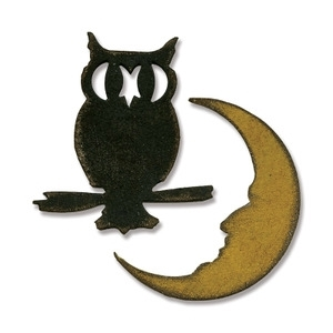 Tim Holtz Sizzix MINI OWL & CRESCENT SHAPED MOON Dies Movers & Shapers 658725