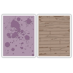 Tim Holtz Sizzix INK SPLATS & WOOD PLANKS Texture Fades Embossing Folders 658726