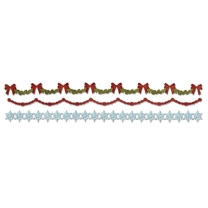 Tim Holtz Sizzix Die HOLLY, BEADED & SNOWFLAKE Decorative Strip Sizzlits 658760