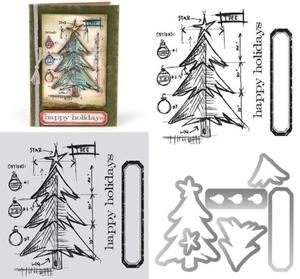 Tim Holtz Sizzix Framelits TREE BLUEPRINT Wafer Thin Die & Stamp Set 659379 zoom image
