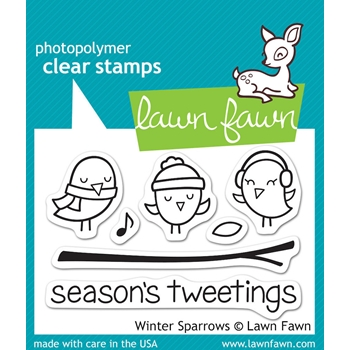 Lawn Fawn WINTER SPARROWS Clear Stamps LF565