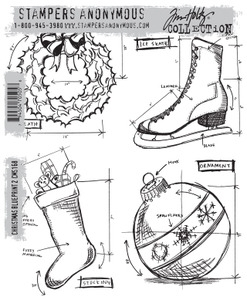 Tim Holtz Cling Rubber Stamps  CHRISTMAS BLUEPRINT 2 CMS168