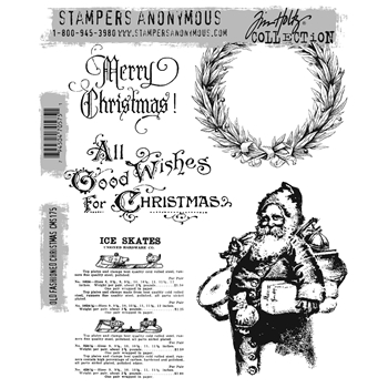 Tim Holtz Cling Rubber Stamps OLD FASHIONED CHRISTMAS cms175