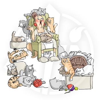 Art Impressions CAT LADY Cling Rubber Stamps 4340