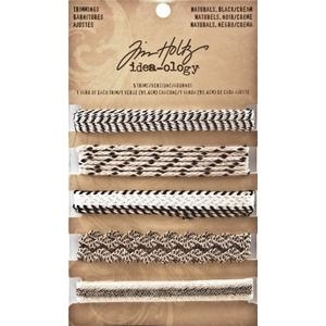 Tim Holtz Idea-ology Naturals BLACK AND CREAM Trimmings TH93105 zoom image
