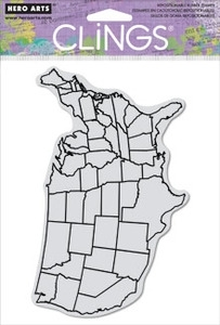 Hero Arts Cling Stamp US MAP BACKGROUND cg624