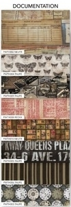 Tim Holtz Fabric Eclectic Elements 14751 DOCUMENTATION 8PC CHARM PACK