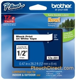 Brother P-Touch 1/2 Black Print on White Tape