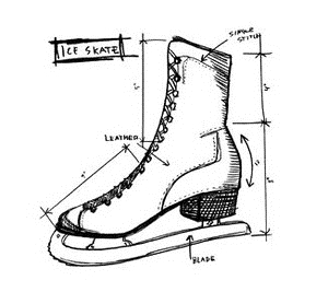 Tim Holtz Rubber Stamp ICE SKATE SKETCH Stampers Anonymous U2-2177 zoom image