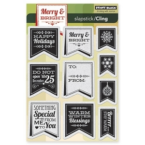 Penny Black Cling Stamp CHRISTMAS BANNERS Rubber Unmounted 40-253 zoom image