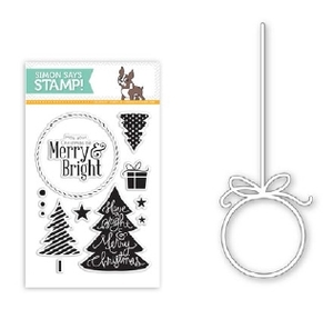 Simon Says STENCIL & STAMPS SET MERRY & BRIGHT ORNAMENT SetMBO40 *