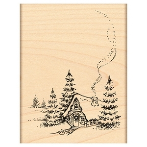 Penny Black Rubber Stamp CHRISTMAS COTTAGE 4364H zoom image