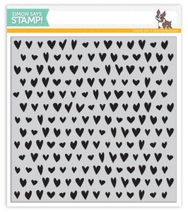 Simon Says Cling Rubber Stamp DRAWN HEART BACKGROUND SSS101374