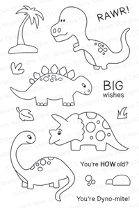 Newton's Nook Designs PREHISTORIC PALS Clear Stamp Set 20130801*