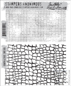 Tim Holtz Graph and Croc Cling Background Stamps