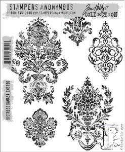 Tim Holtz Cling Rubber Stamps DISTRESS DAMASK cms190 zoom image