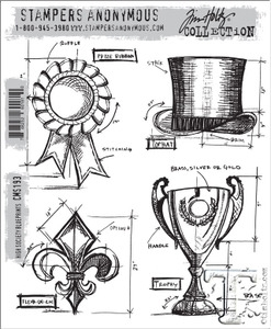 Tim Holtz Cling Rubber Stamps HIGH SOCIETY BLUEPRINTS cms193