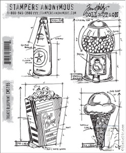 Tim Holtz Cling Rubber Stamps TREATS BLUEPRINT cms195