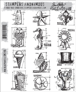 Tim Holtz Cling Rubber Stamps CMS196 MINI BLUEPRINTS 6 Preview Image