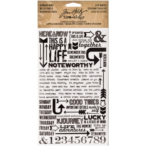 Tim Holtz Idea-ology LIFE QUOTES REMNANT RUBS  TH93120 Preview Image