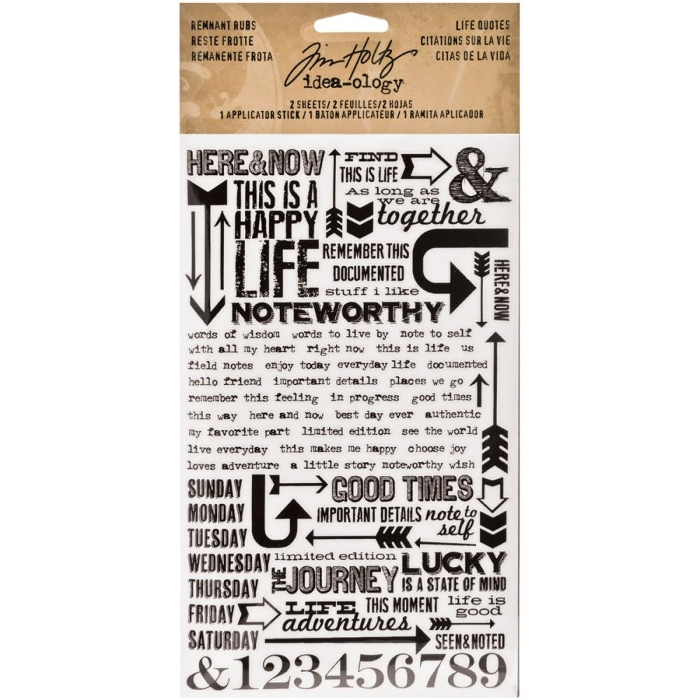Tim Holtz Idea-ology LIFE QUOTES REMNANT RUBS  TH93120 zoom image